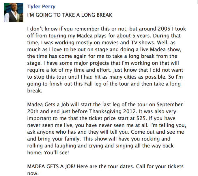 Tyler Perry Live Plays Tour Dates
